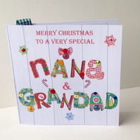 Christmas Card Family,Nana & Grandad,Handmade Can Be Personalised