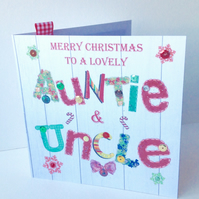 Christmas Card Family,Auntie &Uncle,Design, Handmade,Can Be Personalised