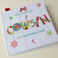 Christmas Card Family,Cousin,Printed Design,Handmade Can Be Personalised