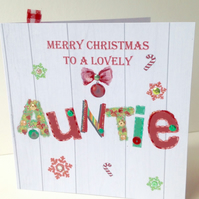 Christmas Card Family,Auntie,Printed Design,Handmade Can Be Personalised