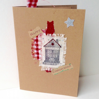 Christmas Cards,Collage Designs,PK of Five, Handmade Xmas Cards