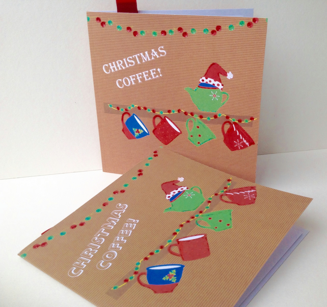 Christmas Card PK of Five,'Christmas Coffee' Theme,Handmade Xmas Cards