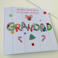 Christmas Card Family,Grandad,Printed Design,Handmade,Can Be Personalised