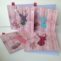 Christmas Cards,Winter Stag,Pack of Five,Handmade Xmas Cards
