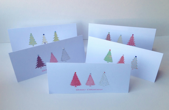 Christmas Cards,Pk of Five,'Festive Firs',Handmade Xmas Cards