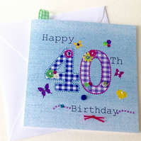 Special Age Birthday Card, Printed Applique Design, Hand Finished Greeting Card
