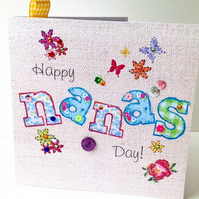 Mother's Day Greeting Card,For 'Nana',Printed Applique Design,HandFinished Card