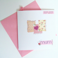 Mothers Day Card Or Birthday Card, Handmade,Needlework Design,Personalised