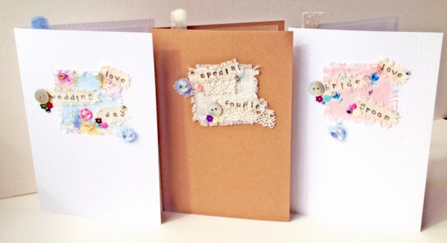 Collage Design,Wedding,Engagement,Anniversary Cards,Pk of 3,Handmade Cards