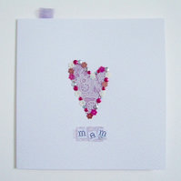 Mother's Day Card & Gift Tags,'Lace' Printed Design,Handmade Card & Tag Set