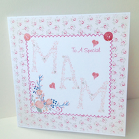 Mother's Day Greeting Card,Dainty Floral Design,Handmade,Personalised