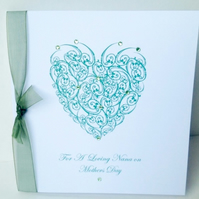 Mother's Day,Greeting Card,Nana,'Crystal Heart'Design,Handmade Card
