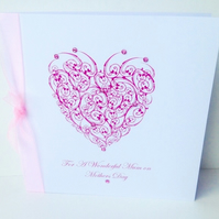 Mother's Day,Greeting Card,'Crystal Heart' Design,Handmade Card