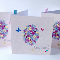 Easter Cards,'Floral Egg'Printed Design Handfinished,Pk of 3