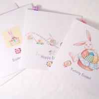 Easter Greeting Cards,Pack of 3,'Vintage Bunnies' Printed Design