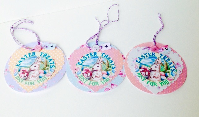Easter themed gift or message tagspack of 3 h folksy easter themed gift or message tagspack of 3 handmade easter gift tags negle Choice Image