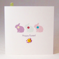 Easter Greeting Cards,'Easter Bunnies'3pk,Handmade Easter Cards