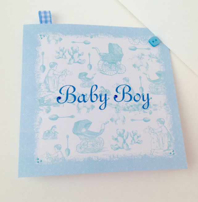 Baby Boy Card,Vintage Style New Baby Card,Handmade,Personalised