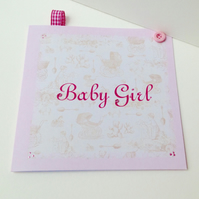 Baby Girl Vintage Style New Baby Card,Handmade,Personalised