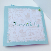 New Baby Card,Vintage Style Baby Card,Handmade,Personalised