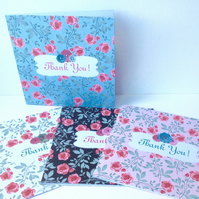 Pack of Four Thank You Cards,Handmade Vintage Rose Cards,Can Be Personalised