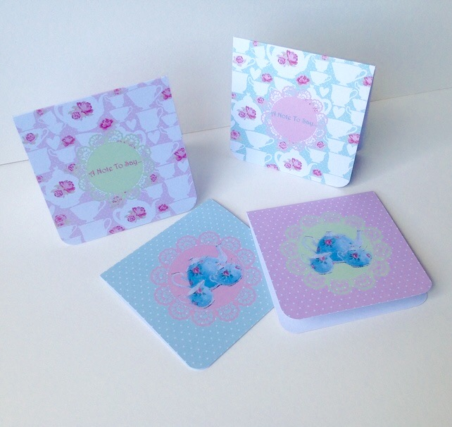 Notecards,Set of Four Blank,'Tea Time'Handmade Notecards with Envelopes