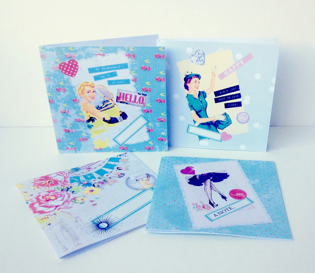 Handmade Notecards Set of Four,Retro 50's Ladies Theme,Can be Personalised