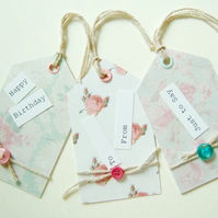 Vintage Floral Design,Pack of Three,Handmade Gift Tags,
