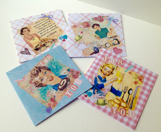 Handmade Notecards,Set of Four,Retro 50s Theme,Can Be Personalised