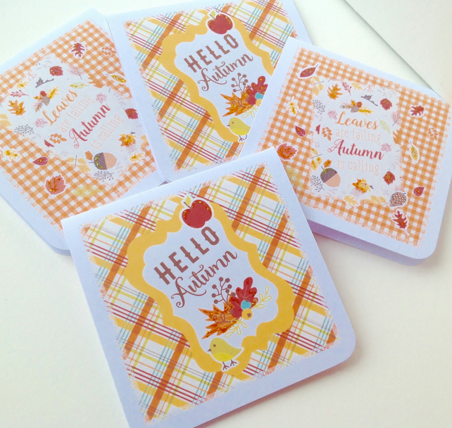 Handmade Notecards,Set of Four,Autumn,Woodland Theme,Can Be Personalised
