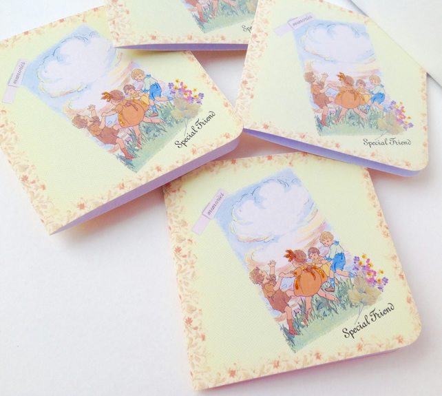 Handmade Notecards,Set of Four,Childhood Friends Theme,Can Be Personalised