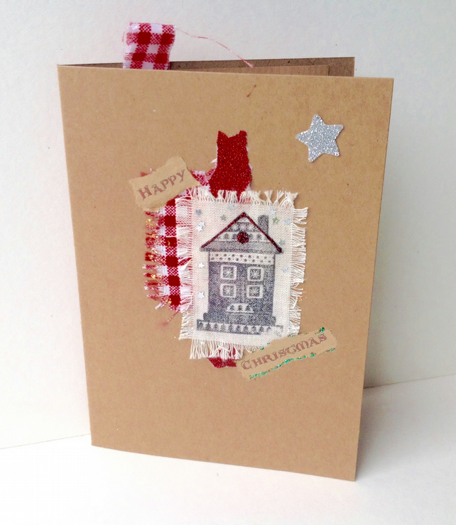 Christmas Cards,Collage Design,Pack of Four,Handmade,Personalised Xmas Cards
