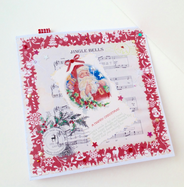 Christmas Cards,Pack of Five,Vintage Santa,Jingle Bells,Handmade,Personalised