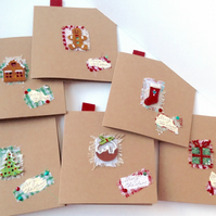 Christmas Cards,Collage Designs,Pack of Six,Handmade,Personalised