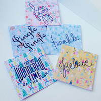 Christmas Cards,PK of Ten,Modern Xmas Designs,Printed,Personalised,Cards