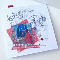 Christmas Cards Five Pack,'Believe'Handmade,Personalised,Vintage Design