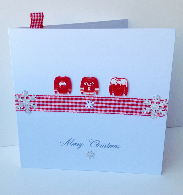 Handmade Christmas Cards,Pack of Five,'Cozy Jumpers'Handmade,Personalised