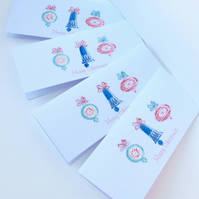 Christmas Cards,Five PK,Retro Baubles Theme,Handmade,Personalised