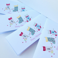 Christmas Cards,PK of Five,'Seasonal Stockings',Handmade,Can Be Personalised