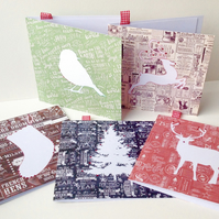 Christmas Cards,Pack of Five,Festive Fonts,Handmade Xmas Cards