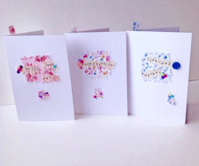 Collage Design,Birthday Cards,Pack of 3,Assorted Colours,Handmade Greeting Cards