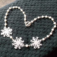 Frosty White Snow Blizzard Snowflakes Necklace