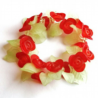Red Rose Garden Stretchy Bracelet