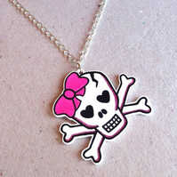 Pink Skull & Crossbones Necklace