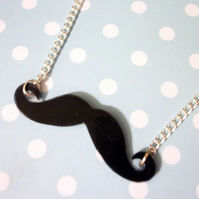 curly black moustache necklace