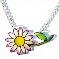 White & Pink Daisy Flower Necklace