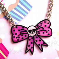 Pink Polkadot Bow & Skull Necklace