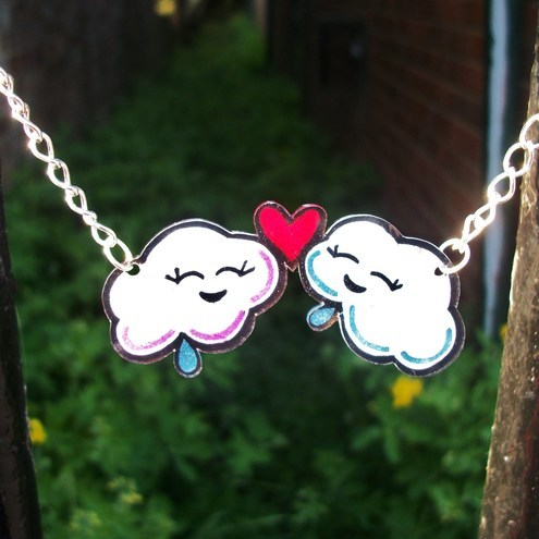 Pink & Blue Rain Clouds Kawaii Necklace