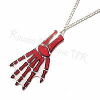 Red Skeleton Hand Bones Necklace