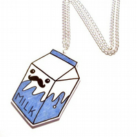 Kawaii Milk Moustache Necklace